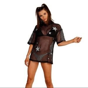 iHeartRaves stargazer mesh fishnet top